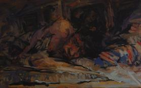 2008, artist in bed, 50x80cm