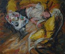 2008-09-17, kirill crashed at hes nephews house, 100x120cm