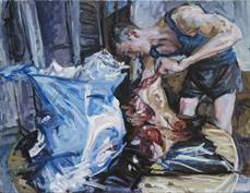 2009, preparing pork, 100x130cm