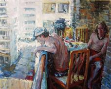 2011-03-17, scene on a balcony, 160x200cm