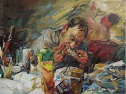 2011-05-25, eating chicken, 60x80cm