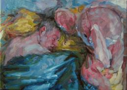 2011-07-17, sleeping with bunny, 50x70cm