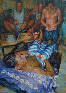 2011-09-26, gathering in the living', 140x100cm