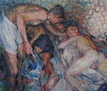 2011-09-28, 'back in Lloret (the good Samaritan)', 110x130cm