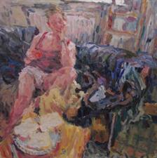 2014-01-25, breakfast in the studio, 145x145cm