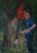 2014-04-04, in the Garden, with a Piece of Wood, 170x120cm